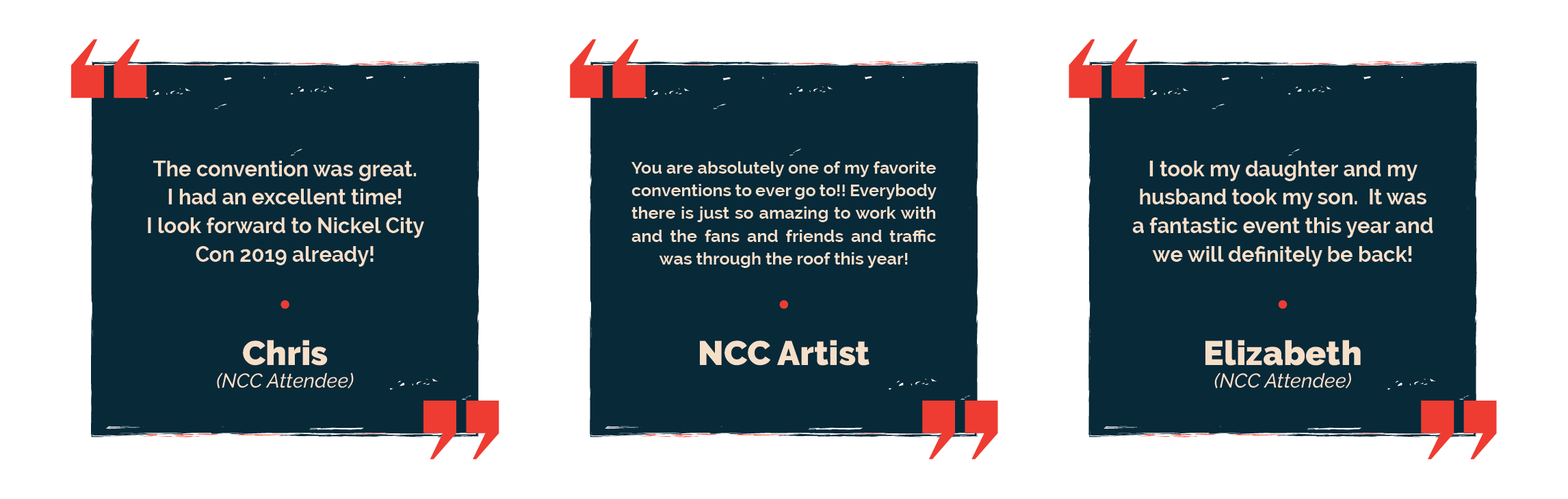 Testimonials regarding Nickel City Con buffalo comic con